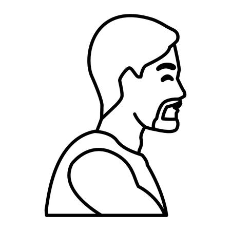 Progettazione grafica dell'illustrazione di vettore dell'icona di profilo dell'uomo di forma fisica Archivio Fotografico - 94429322