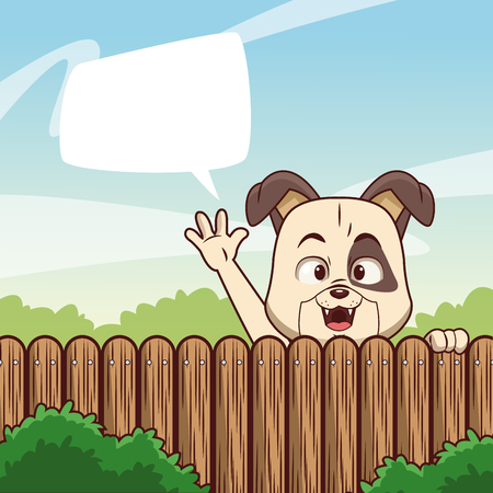 Dog behind fence with blank speak bubble