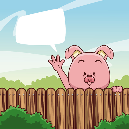 Pig behind fence with blank speech bubble illustration. Illustration