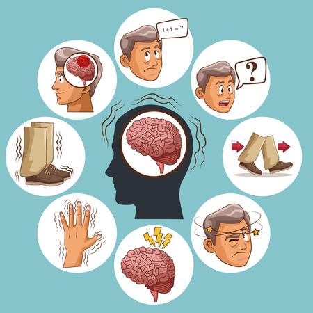Choroba Parkinsona ikona kreskówka wektor ilustracja projekt graficzny.