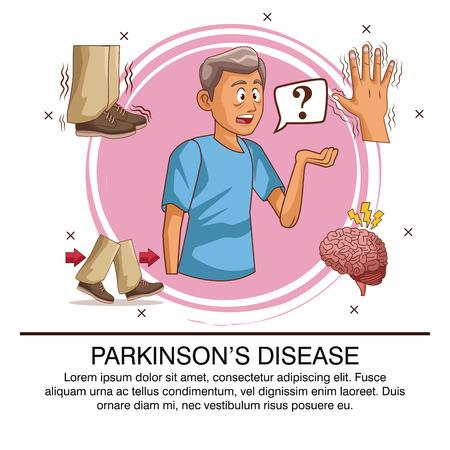 Parkinsons ziekte infographic pictogram vector illustratie grafisch ontwerp