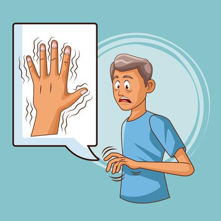 Choroba Parkinsona ikona kreskówka wektor ilustracja projekt graficzny