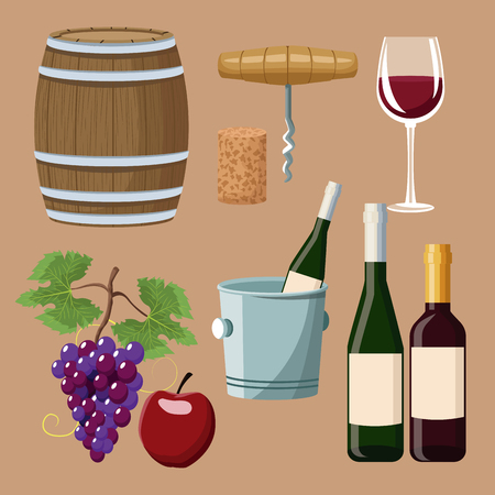 Winery elements and icons icon vector illustration graphic design. Stock Vector - 94431375