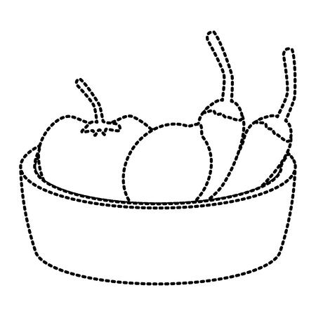 Chillis with tomato on bowl icon vector illustration graphic design