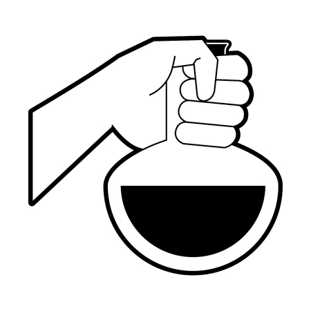 Hand with Laboratory flask icon vector illustration graphic design