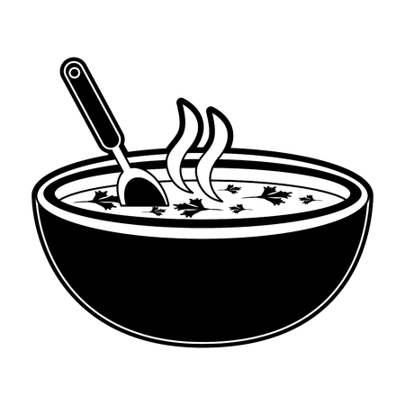 Delicious dish of soup icon vector illustration graphic design Stock Illustratie