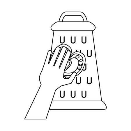 Hand on kitchen grater icon vector illustration graphic design