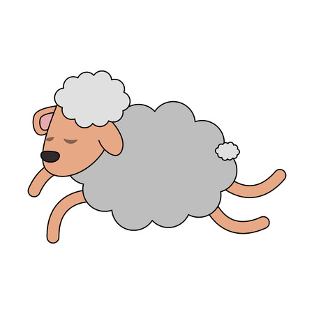 Sheep jumping cartoon icon vector illustration graphic design Vectores