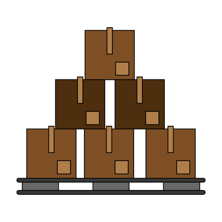 Boxes on pallet icon vector illustration graphic design