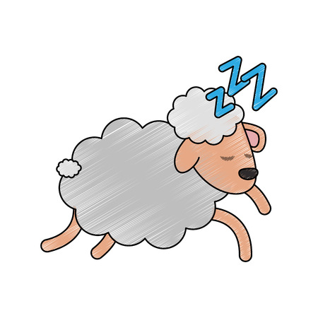 Sheep sleeping cartoon icon vector illustration graphic design Illustration