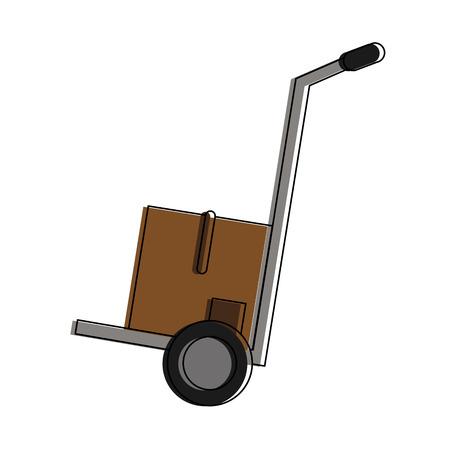 Box on hand truck icon vector illustration graphic design