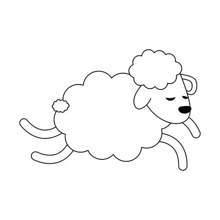 Sheep jumping cartoon icon vector illustration graphic design Ilustracja