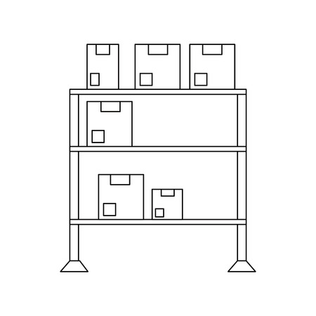 Warehouse racks with boxes icon vector illustration graphic design  イラスト・ベクター素材