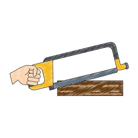 Hand holding hacksaw icon vector illustration graphic design
