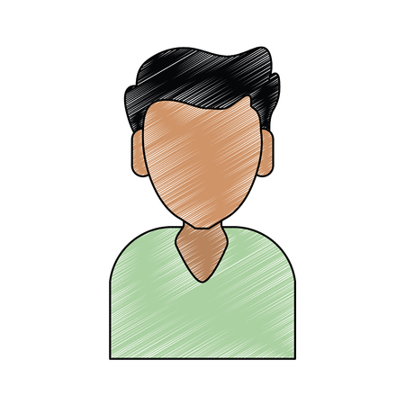 Faceless man cartoon with dark complexion, wearing light green shirt illustration graphic design