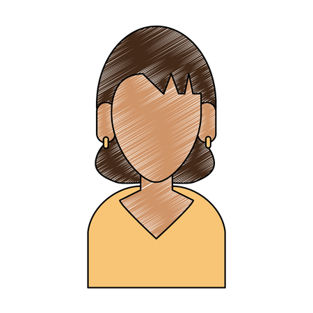 Faceless woman avatar with dark complexion and wearing yellow accessories illustration graphic design Illustration