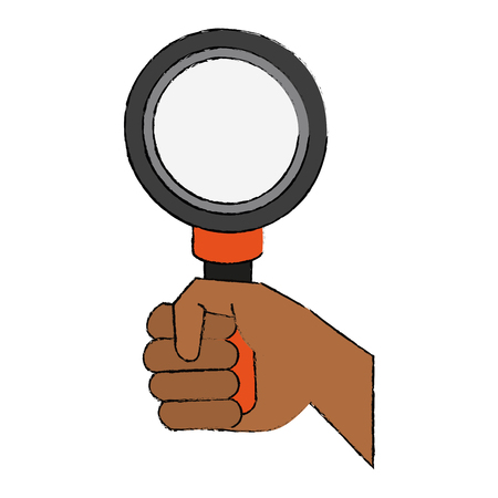 Hand with Magnifying glass icon vector illustration graphic design Illustration