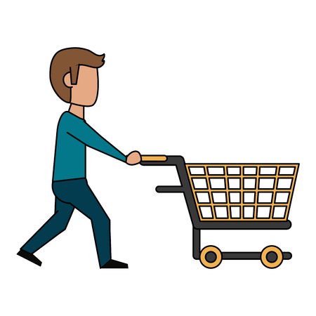 Man with shopping cart icon vector illustration graphic design  イラスト・ベクター素材