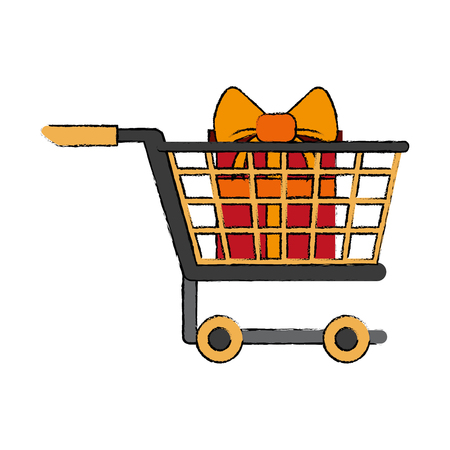 Shopping cart with giftbox icon vector illustration graphic design