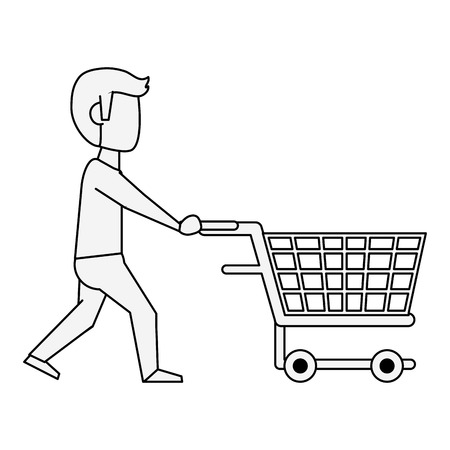 Man with shopping cart icon vector illustration graphic design Illustration