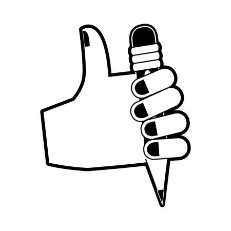 Hand with pencil icon. Vector illustration graphic design.