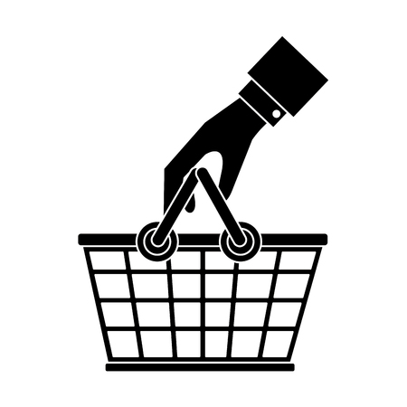 Hand with shopping basket icon vector illustration graphic design Çizim