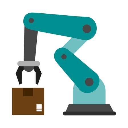 Robot arm box icon vector illustration graphic design