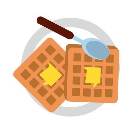 Breakfast waffles food icon vector illustration graphic design Illustration