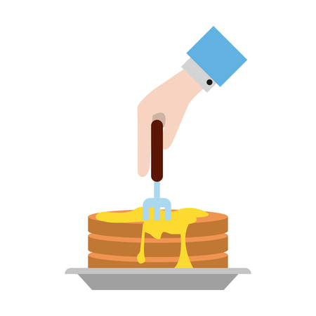 Pancakes breakfast food icon vector illustration graphic design