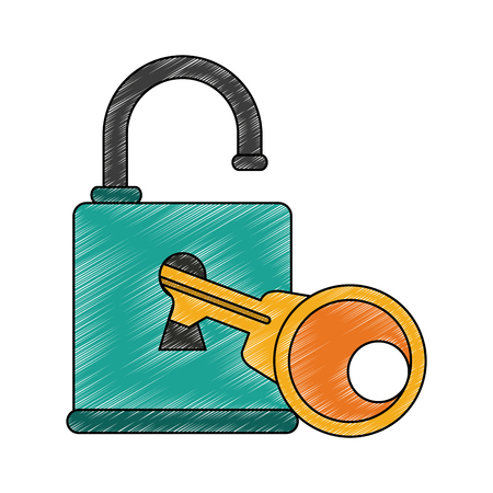 Padlock and key icon vector illustration graphic design