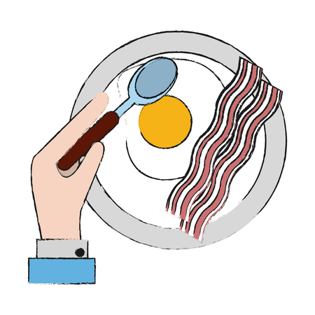 American breakfast food icon vector illustration graphic design