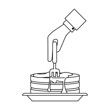 Pancakes breakfast food icon vector illustration graphic design