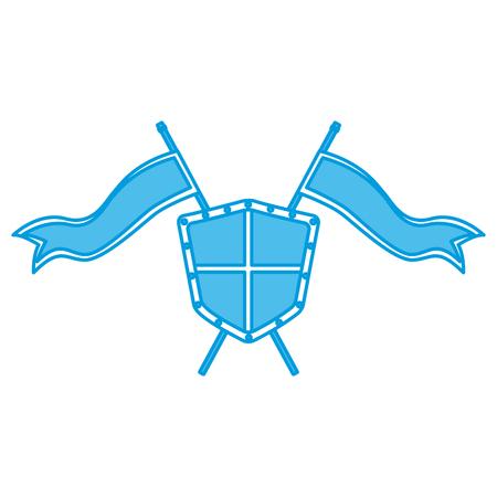 Metallic warrior shield with flags icon vector illustration graphic design Illustration