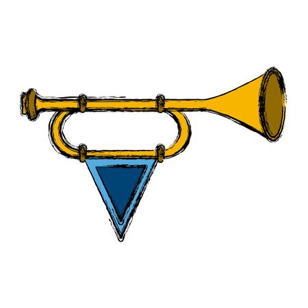 Tromba medievale con progettazione grafica dell'illustrazione di vettore dell'icona della bandiera Archivio Fotografico - 94587612