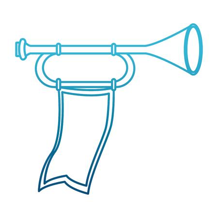 Tromba medievale con progettazione grafica dell'illustrazione di vettore dell'icona della bandiera Archivio Fotografico - 94589180