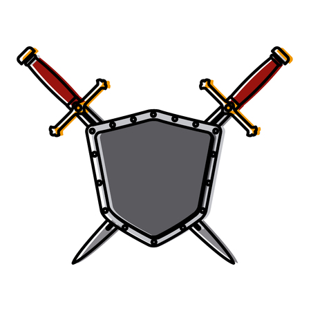 Metallic warrior shield with swords icon vector illustration graphic design