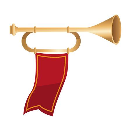 Tromba medievale con progettazione grafica dell'illustrazione di vettore dell'icona della bandiera Archivio Fotografico - 94594158