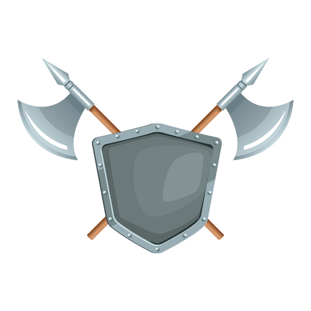 Metallic warrior shield with axes icon vector illustration graphic design