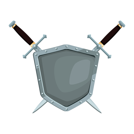 Metaalstrijdersschild met vector de illustratie grafisch ontwerp van het zwaardenpictogram