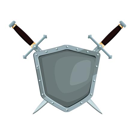 Metallic warrior shield with swords icon vector illustration graphic design