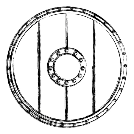Wooden round shield icon vector illustration graphic design.
