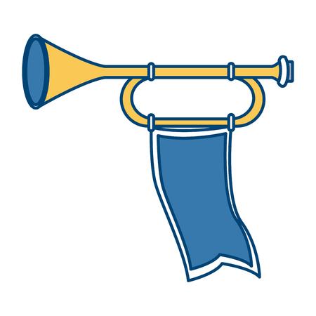 Tromba medievale con progettazione grafica dell'illustrazione di vettore dell'icona della bandiera Archivio Fotografico - 94593532