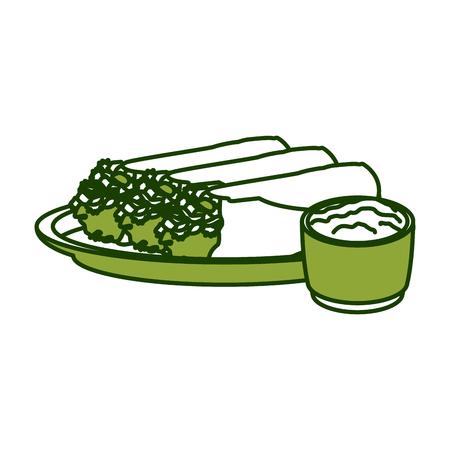 Mexican burritos food icon vector illustration graphic design.