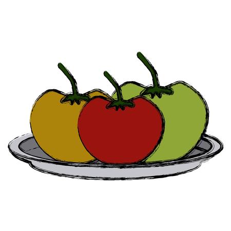 Tomatos vegetables dish icon vector illustration graphic design