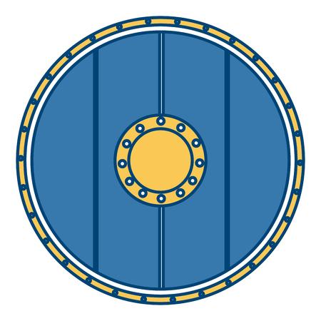wooden round shield icon vector illustration graphic design