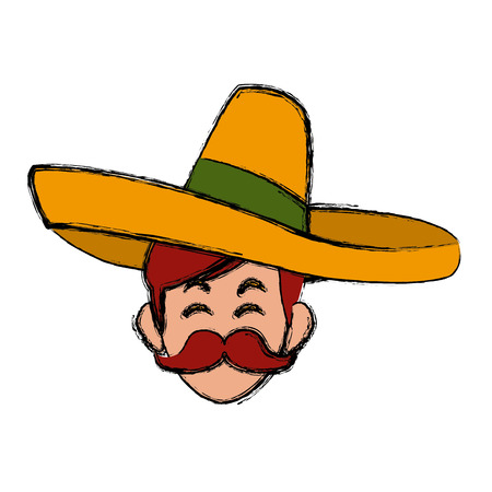 Mexican with hat icon vector illustration graphic design