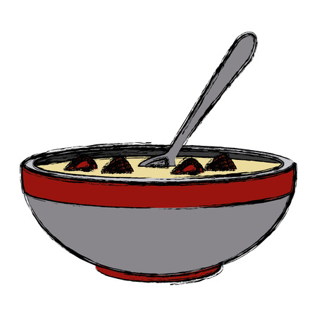Cereal and milk bowl icon vector illustration graphic design 矢量图像