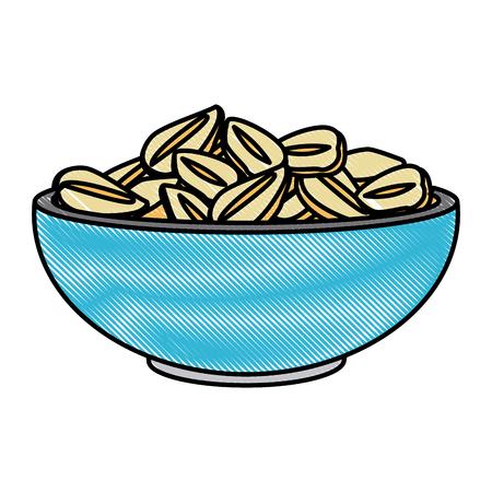 Oat flakes bowl icon vector illustration graphic design
