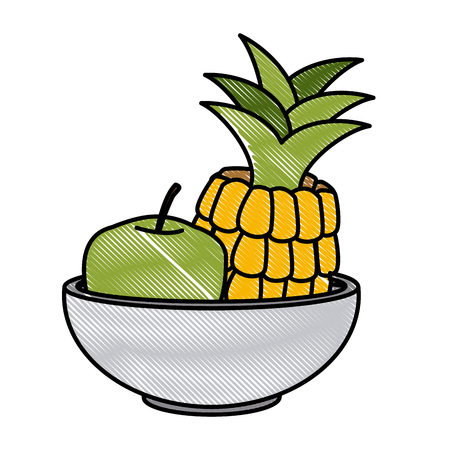 Pineapple and apple on bowl icon vector illustration graphic design