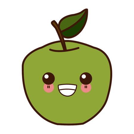 Apple fruit symbol  cute cartoon vector illustration design